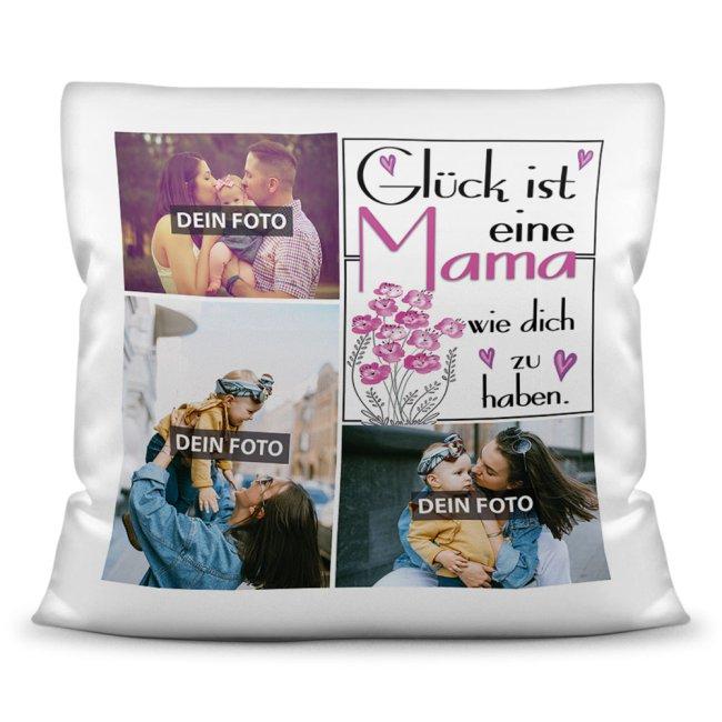 Kissen für Mama - Fotocollage mit drei Fotos zum selbst Gestalten - inkl. Füllung
