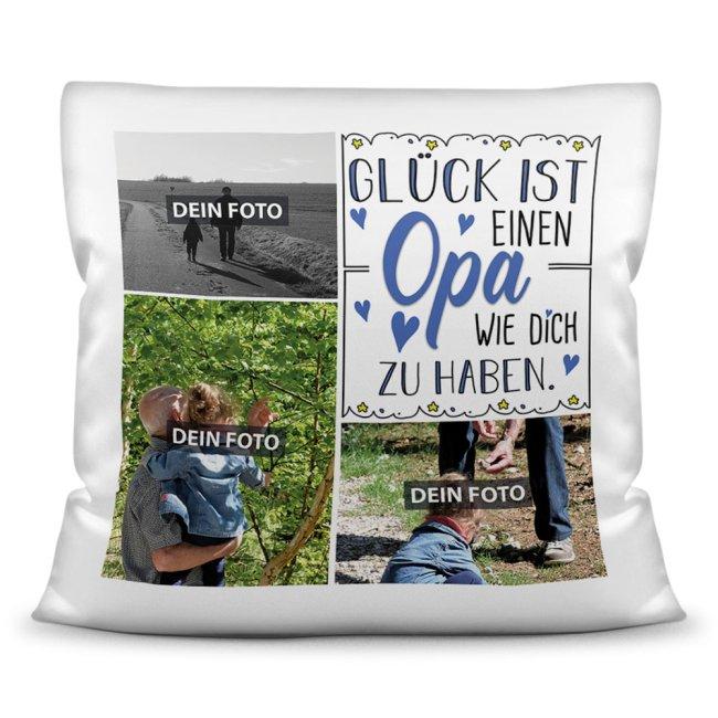 Kissen für Opa - Fotocollage mit drei Fotos zum selbst Gestalten - inkl. Füllung