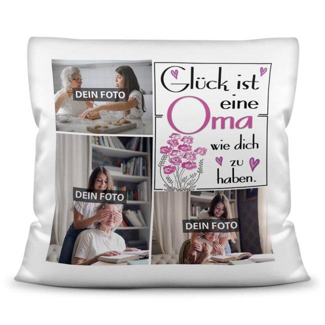 Kissen für Oma - Fotocollage mit drei Fotos zum selbst Gestalten - inkl. Füllung