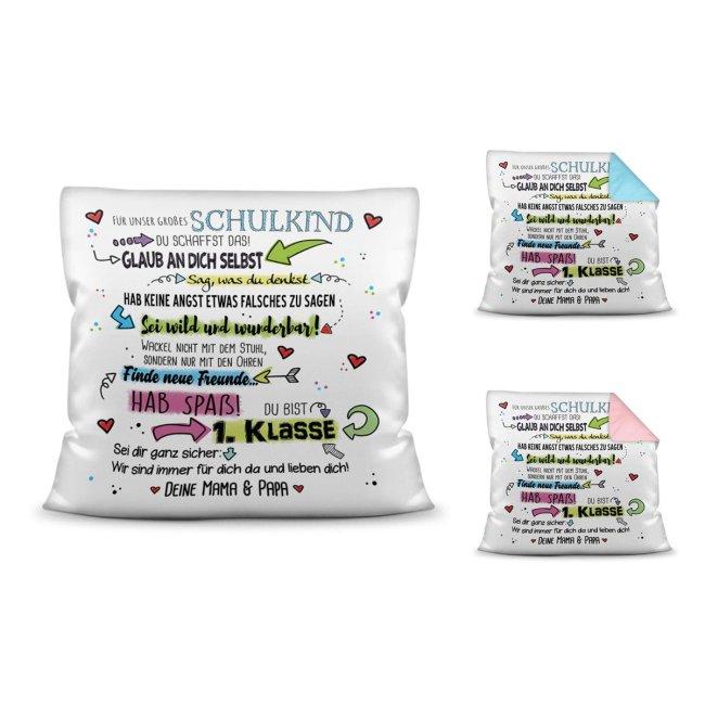 Geschenk Kissen für Kinder zur Einschulung - Unser großes Schulkind -