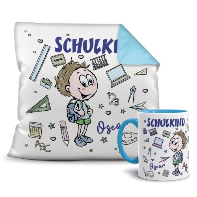 Geschenk-Set zur Einschulung - Kissen und Tasse Schulkind - Ihr Wunschname -