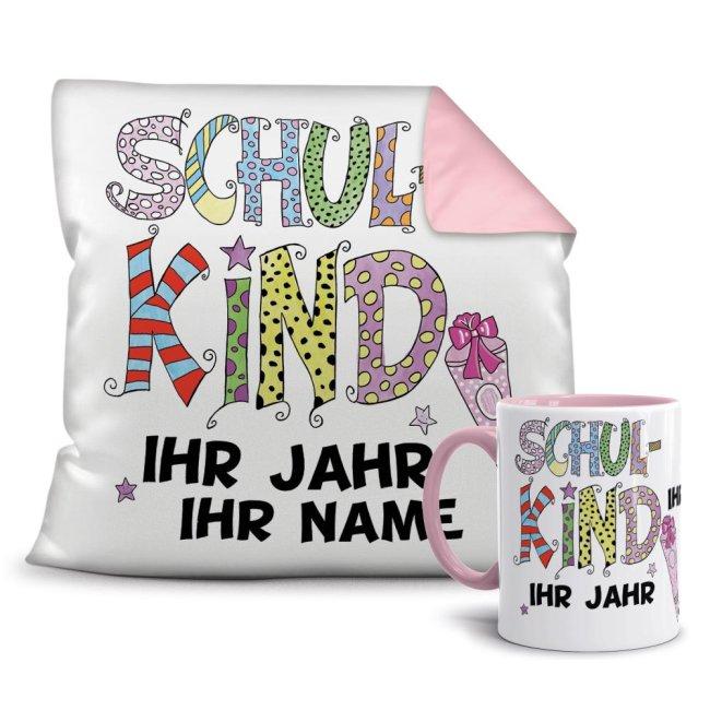 Geschenk-Set - Kissen und Tasse Schulkind - Ihr Wunschname und Jahr -