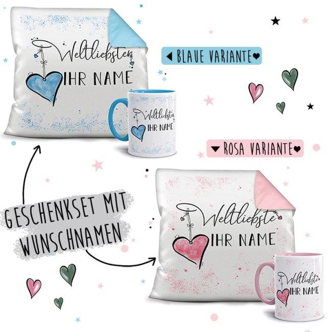 Geschenk-Set Namenstasse plus Kissen - Weltliebste/r mit WUNSCHNAME
