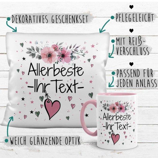 Geschenk-Set - Namenstasse plus Kissen - Allerbeste/r WUNSCHNAME