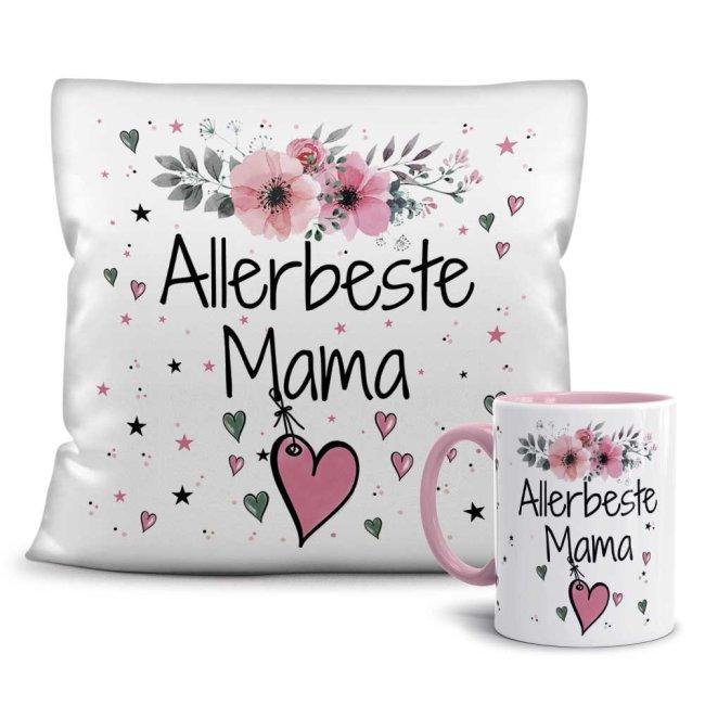 Geschenk-Set - Tasse und Kissen mit Blumenmotiv - Allerbeste Familie
