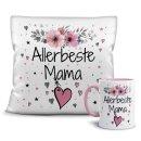 Geschenk-Set - Tasse und Kissen mit Blumenmotiv -...