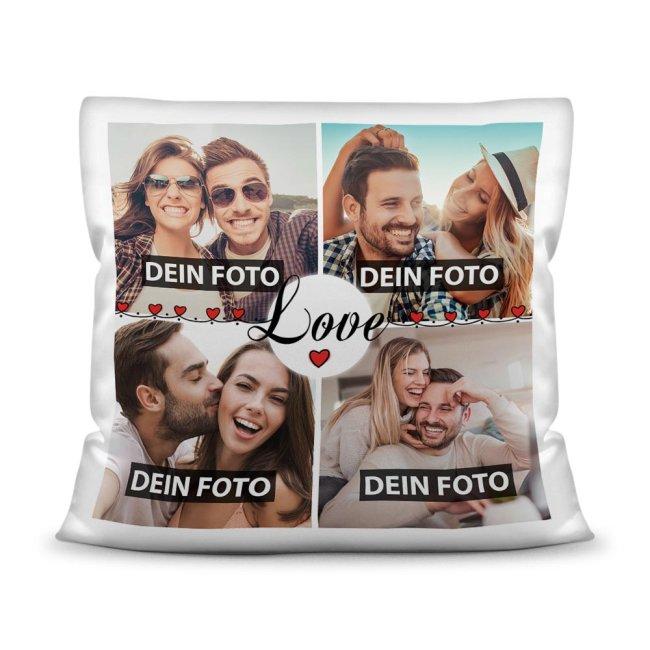 Kissen mit Füllung - Fotocollage zum selbst Gestalten - LOVE - mit vier Fotos