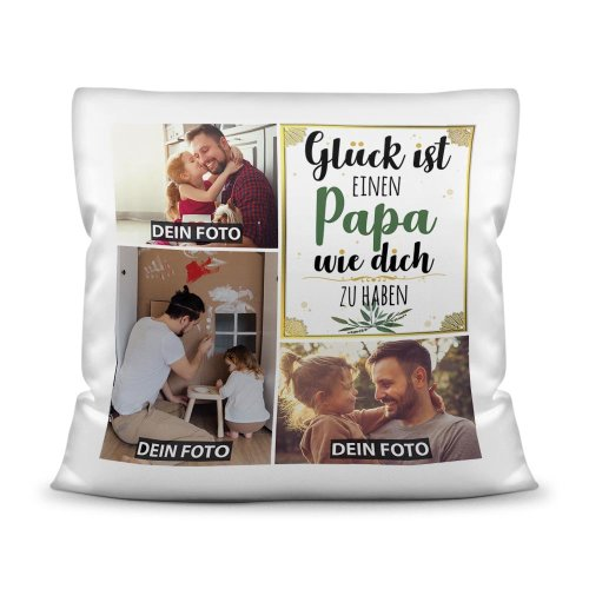 Kissen mit Füllung - Fotocollage - GLÜCK -  zum selbst Gestalten mit drei Fotos - für Männer