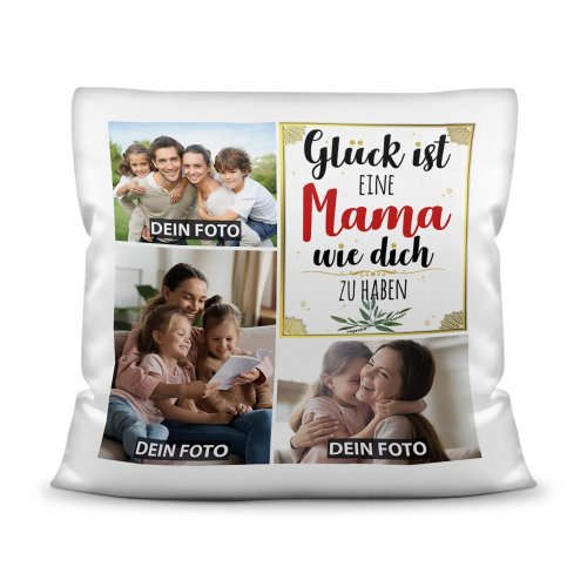 Kissen mit Füllung - Fotocollage - GLÜCK -  zum selbst Gestalten mit drei Fotos - für Frauen