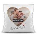 Kissen mit Füllung - Foto im Herz - Ich liebe Dich