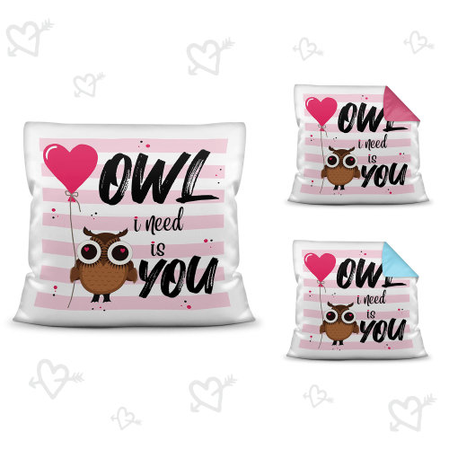 Eulen-Kissen mit Spruch - Owl I need is you