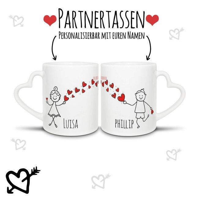 2er Set Partner-Tassen Strichmännchen mit Wunschnamen