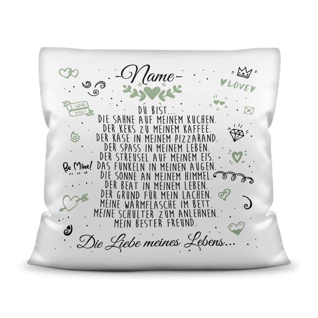 Kissen mit schönem Spruch - Liebe meines Lebens - mit Wunschname für Männer