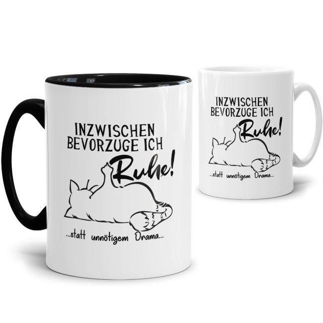 Witzige Katzen-Tassen mit Spruch - Inzwischen bevorzuge ich Ruhe