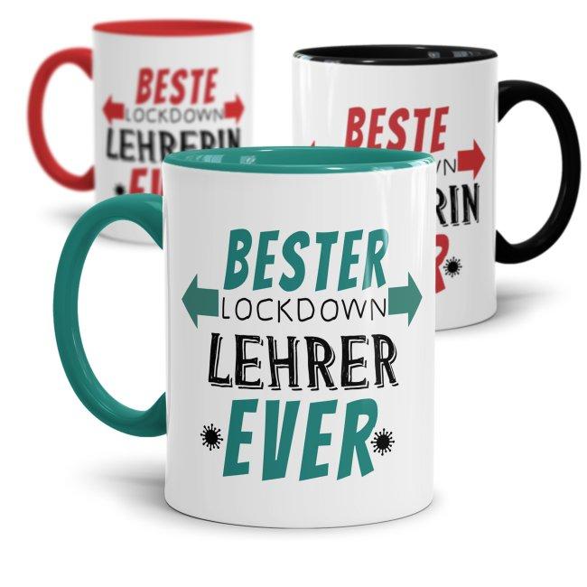Tassen für Lehrer - Beste Lockdown-Lehrerin / Bester Lockdown-Lehrer ever